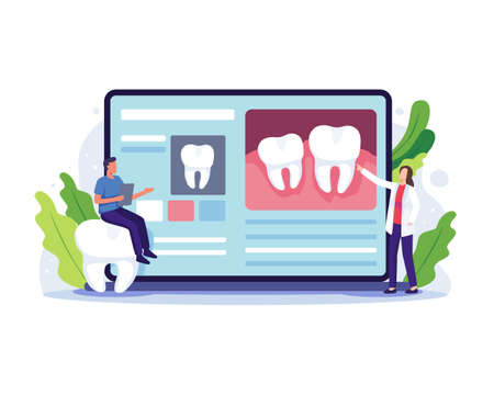 Dentist online consultation concept. Dentist online service and platform, Medical dental clinic with small people. Online appointment, Dental care. Vector illustration in a flat style Vettoriali