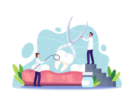 Dental care clinic concept. Dentist in uniform extracting human tooth using medical equipment. Oral health and dentistry hygiene. Vector illustration in a flat style