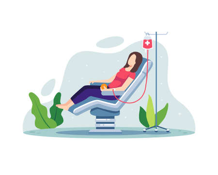 Volunteer woman donating blood. Volunteer female character sitting in medical hospital chair donating blood. Blood donation, World Blood Donor Day concept illustration. Vector in a flat style