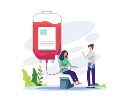 Volunteer female character donating blood. Volunteer character sitting in medical hospital chair donating blood. Blood donation, World Blood Donor Day concept illustration. Vector in a flat style