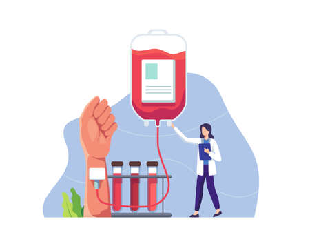 Doctor character in blood donation laboratory. Female doctor character in medical uniform. Lifeblood transfusion from human hand to plastic container. Vector in a flat style