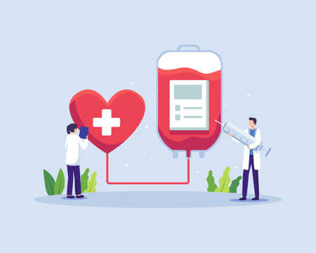 Doctor characters in blood donation laboratory. Male and female doctors characters in medical uniform. Lifeblood transfusion from human hand to plastic container. Vector in a flat style Vettoriali