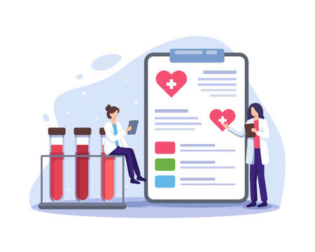 Doctor characters in blood donation laboratory. Female doctors characters in medical uniform. Lifeblood transfusion from human hand to plastic container. Vector in a flat style