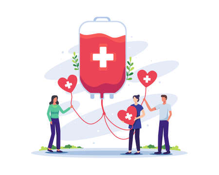 Volunteers woman and man character donating blood. Blood donation, World Blood Donor Day concept illustration. Vector illustration in a flat style