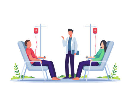 Volunteers woman and man donating blood. Volunteer character sitting in medical hospital chair donating blood. Blood donation, World Blood Donor Day concept illustration. Vector in a flat style