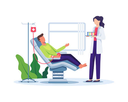 Volunteer man donating blood. Volunteer male character sitting in medical hospital chair donating blood. Blood donation, World Blood Donor Day concept illustration. Vector illustration in a flat style
