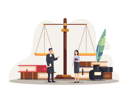 Legal law justice service illustration. Law and justice concept with characters and judicial elements. Vector illustration in a flat style