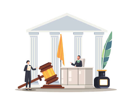 Lawyer woman speaking in courtroom. Female attorney or jury standing in front of judge and talking. Vector illustration in a flat style Vettoriali
