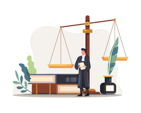 Lawyer judge character illustration. Justice and federal authority symbol, Lawyer profession knowledge. Vector illustration in a flat style Vettoriali