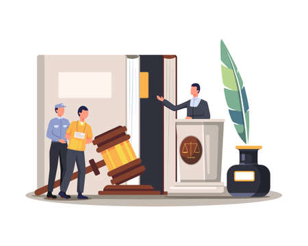 Court trial vector illustration. Lawyer judge a criminal for justice, Crime and justice in courthouse concept. Vector in a flat style