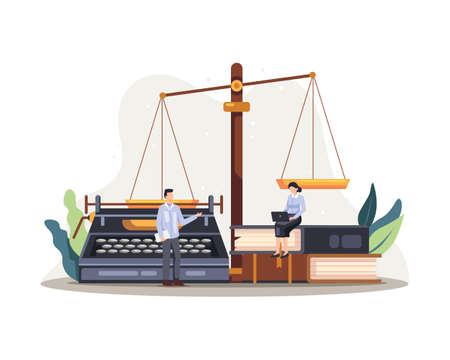 Legal law justice service illustration. Law concept of legal regulation judicial system business agreement. Vector in a flat style Vettoriali