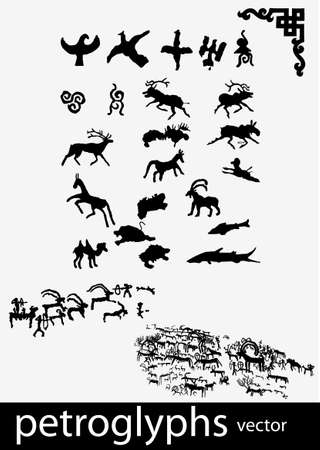 archaeology: Petroglyphs and ethnic symbols Illustration