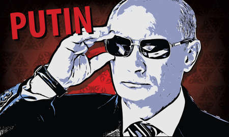 minister: Vladimir Putin - Russia president. Vector illustration in style comics picture. Rubbings from a photo Vladimir Putin adjusts his sunglasses, watching the air show MAKS-2011. No attribution required