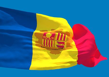 andorra: Andorra wave flag HD Principality of Andorra