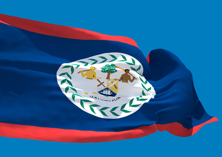 central america: Belize wave flag HD Belmopan country coast of Central America Stock Photo
