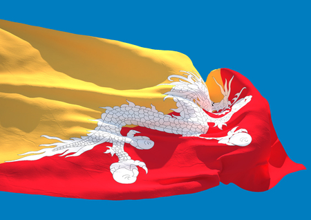 bhutan: Bhutan wave flag HD Kingdom of Bhutan Stock Photo