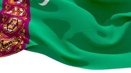 Republic of Turkmenistan national flag 3D blocks background. 3D illustration