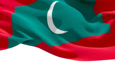 Republic of Maldives waving national flag. 3D illustration