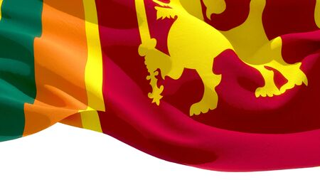 Democratic Socialist Republic of Sri Lanka waving national flag. 3D illustration