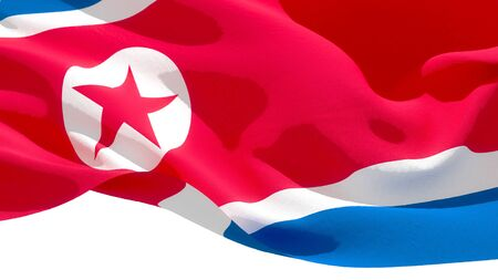 Democratic Peoples Republic of Korea waving national flag. 3D illustration