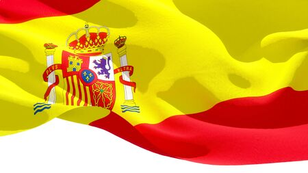 Kingdom of Spain waving national flag. 3D illustration