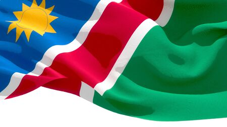 Republic of Namibia waving national flag. 3D illustration