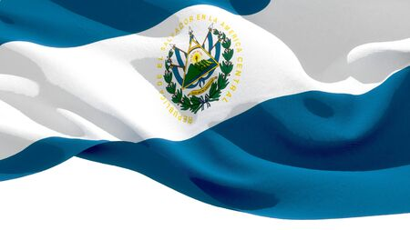 Republic of El Salvador waving national flag. 3D illustration Stockfoto