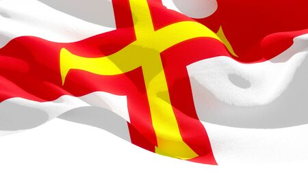 Guernsey waving national flag. 3D illustration