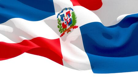 Dominican Republic waving national flag. 3D illustration Stockfoto