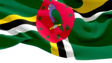 Commonwealth of Dominica waving national flag. 3D illustration