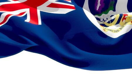 Falkland Islands waving national flag. 3D illustration