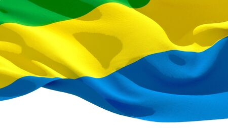 Gabonese Republic waving national flag. 3D illustration