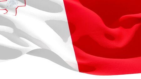 Republic of Malta waving national flag. 3D illustration