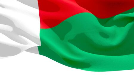 Republic of Madagascar waving national flag. 3D illustration Stockfoto