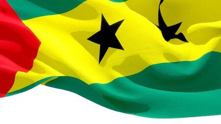 Democratic Republic of Sao Tome national flag 3D blocks background. 3D illustration