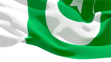 Islamic Republic of Pakistan waving national flag. 3D illustration Stockfoto