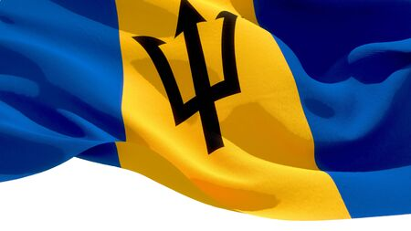 Barbados waving national flag. 3D illustration