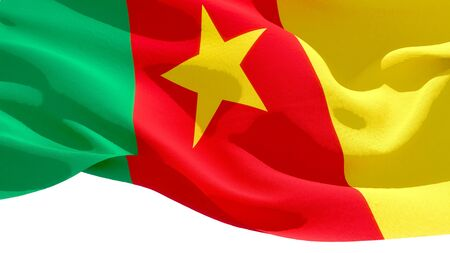 Republic of Cameroon waving national flag. 3D illustration