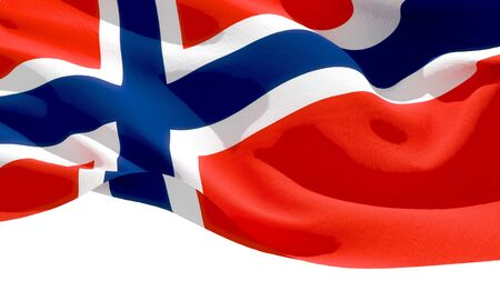 Kingdom of Norway waving national flag. 3D illustration