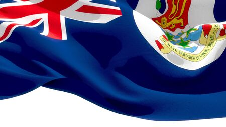 Cayman Islands waving national flag. 3D illustration