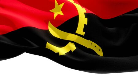 Republic of Angola waving national flag. 3D illustration Stockfoto