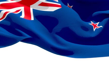 New Zealand waving national flag. 3D illustration Stockfoto