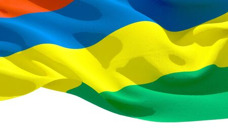 Republic of Mauritius waving national flag. 3D illustration Stockfoto