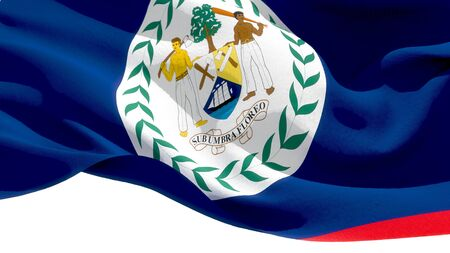 Belize waving national flag. 3D illustration