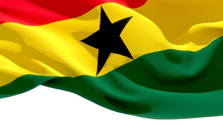 Republic of Ghana waving national flag. 3D illustration