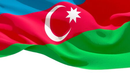 Republic of Azerbaijan waving national flag. 3D illustration Stockfoto