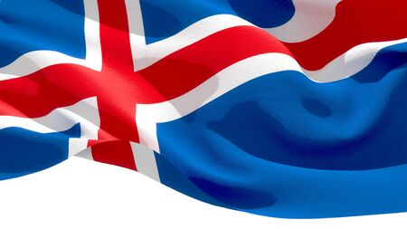 Iceland waving national flag. 3D illustration