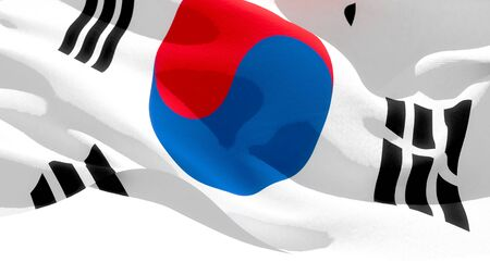 Republic of Korea waving national flag. 3D illustration