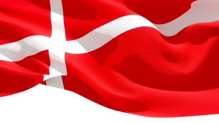 Kingdom of Denmark waving national flag. 3D illustration