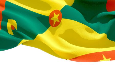 Grenada waving national flag. 3D illustration